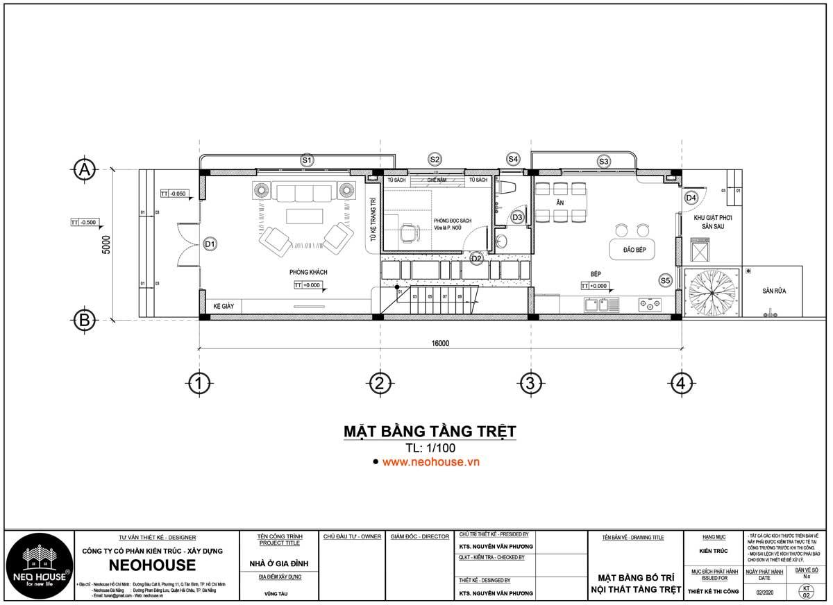 Mặt bằng tầng trệt thiết kế nhà ống 2 tầng 3 phòng ngủ 5x16m