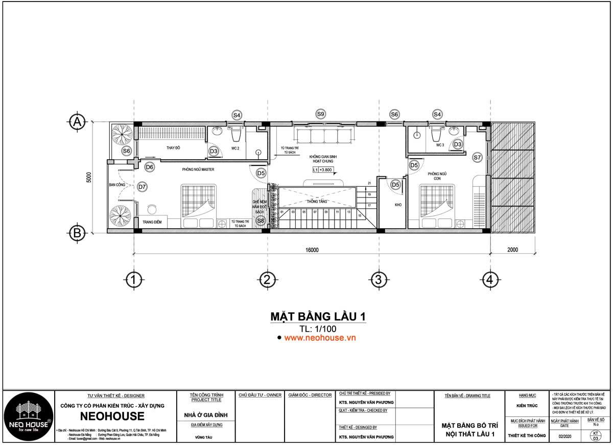Mặt bằng lầu 1 thiết kế nhà ống 2 tầng 3 phòng ngủ 5x16m