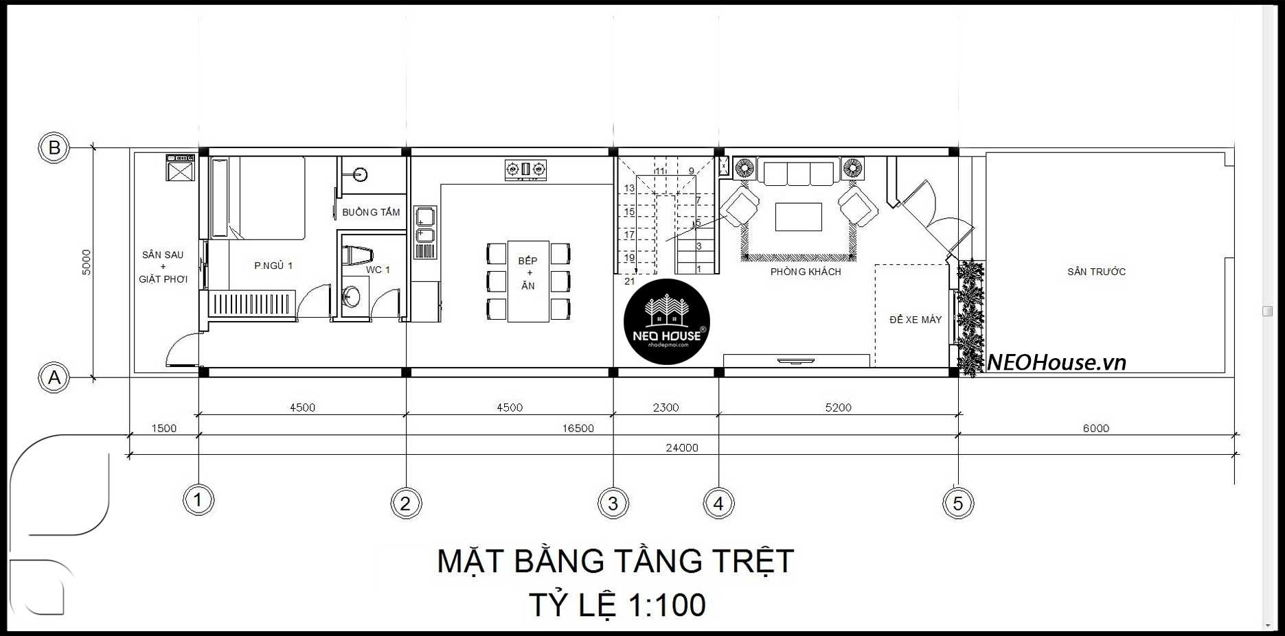 Mặt bằng tầng trệt nhà ống 2 tầng 1 tum 3 phòng ngủ