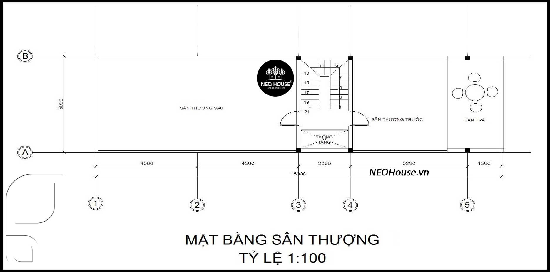 Mặt bằng tầng tum nhà ống 2 tầng 1 tum 3 phòng ngủ