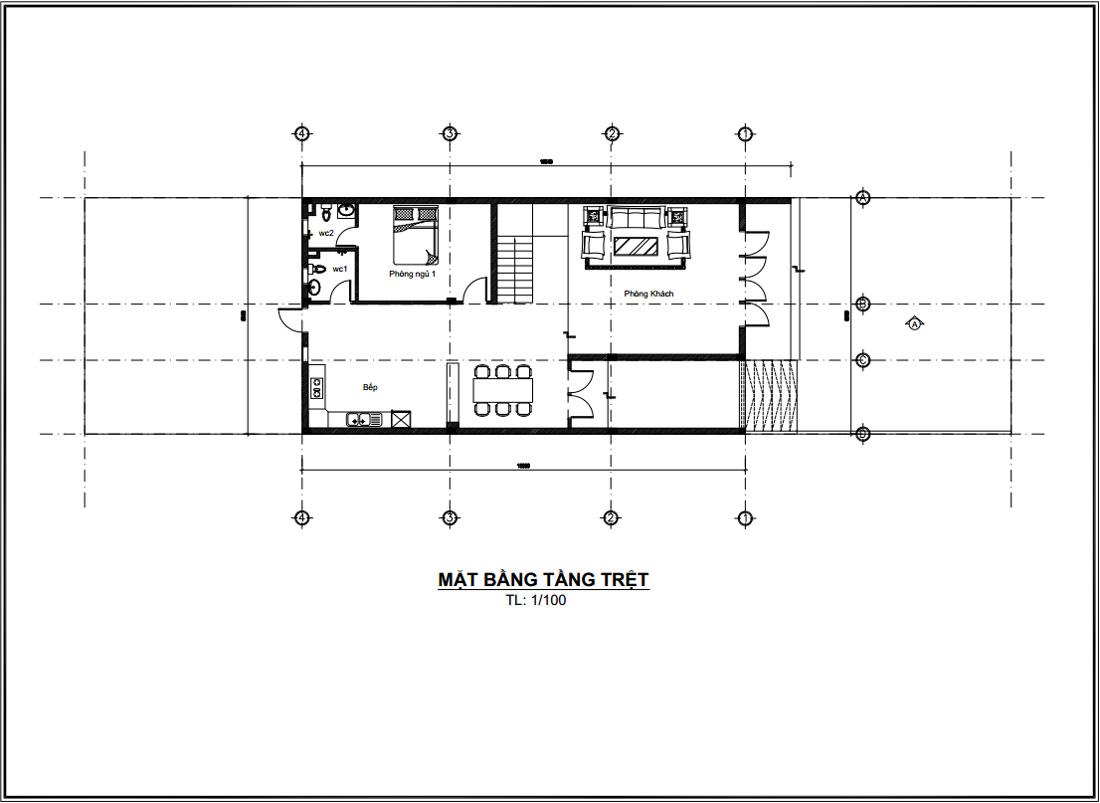 Mặt bằng tầng trệt thiết kế nhà ống 2 tầng 3 phòng ngủ 1 phòng ngủ