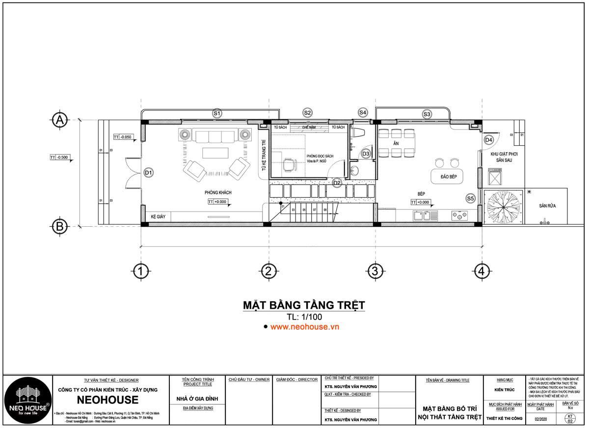 Mặt bằng tầng trệt mẫu thiết kế nhà ống 2 tầng 5x20m tại Vũng Tàu