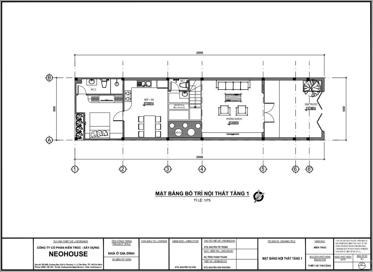 Mặt bằng công năng tầng trệt bản vẽ thiết kế nhà ống 2 tầng 5x20m