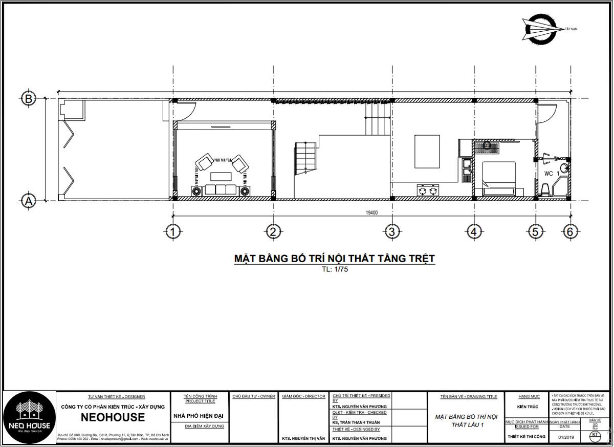 Mặt bằng công năng tầng trệt bản vẽ thiết kế nhà ống 5x20m đẹp