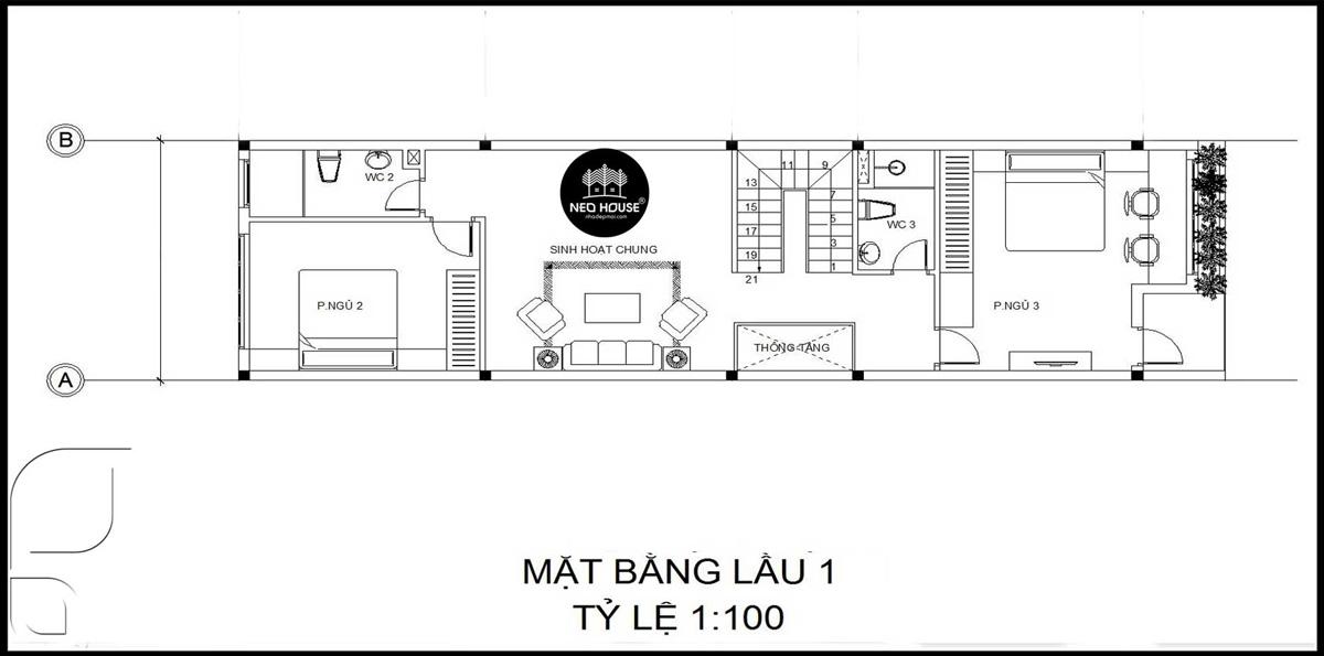 Bản vẽ thiết kế nhà ống 2 tầng 1 tum 5x20m lầu 1