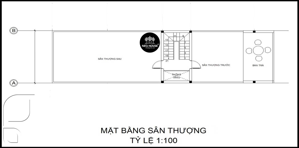 Bản vẽ thiết kế nhà ống 2 tầng 1 tum 5x20m tầng tum