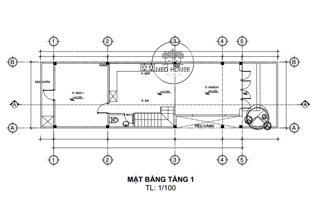 Mặt bằng công năng tầng 1 mẫu nhà ống đẹp 2 tầng 5x20m