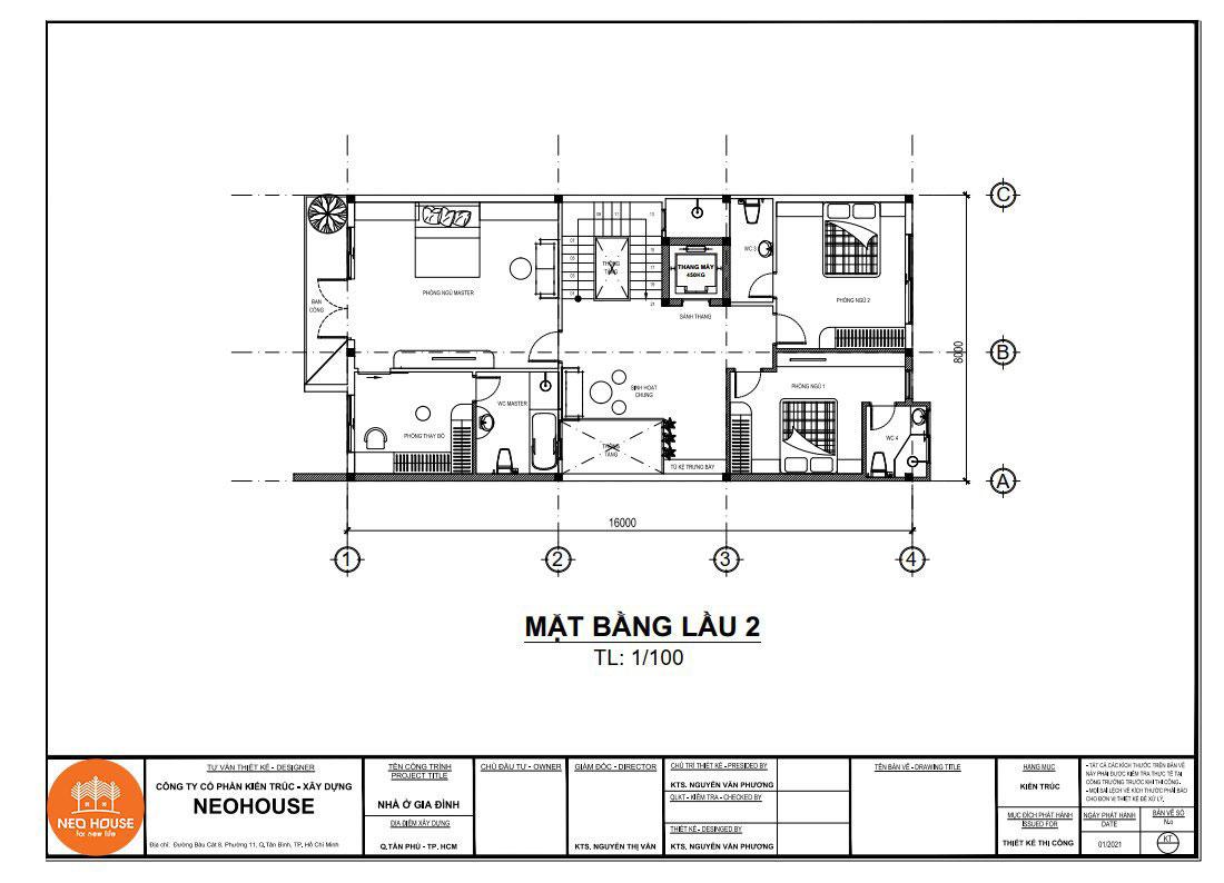 Mặt bằng công năng lầu 2 nhà phố tân cổ điển 4 tầng 8x16m