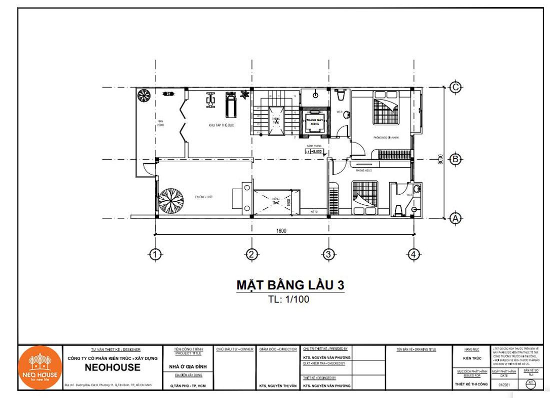 Mặt bằng công năng lầu 3 nhà phố tân cổ điển 4 tầng 8x16m