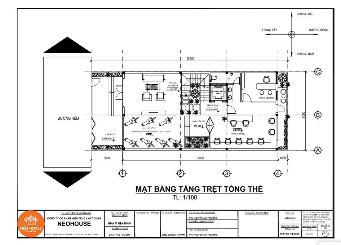 Mặt bằng công năng tầng trệt nhà phố tân cổ điển 4 tầng 8x16m