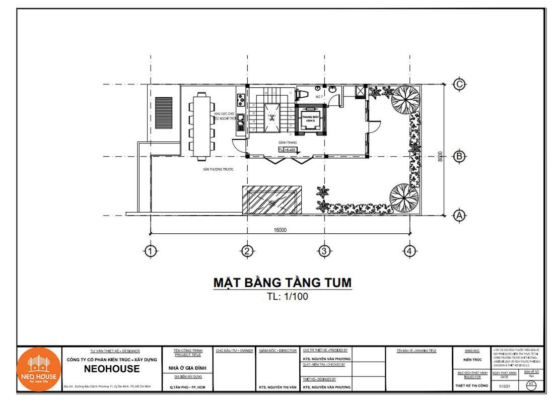 Mặt bằng công năng tầng tum nhà phố tân cổ điển 4 tầng 8x16m