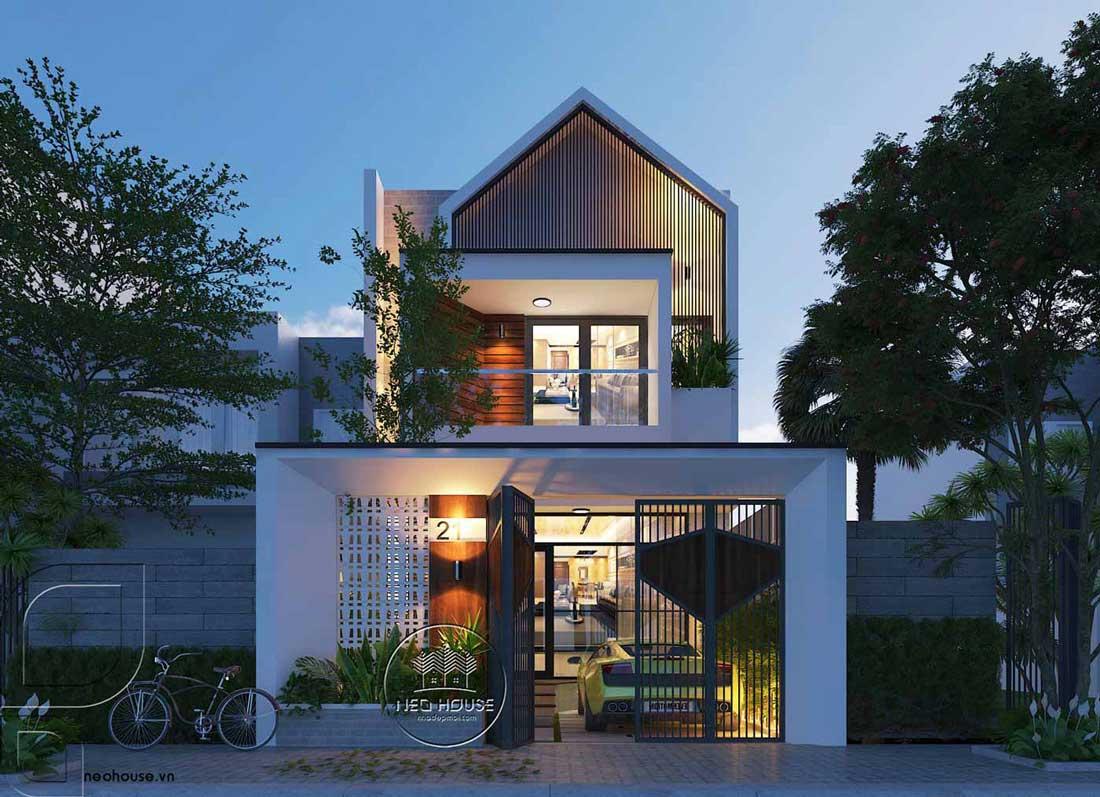 Thiết kế nhà ống 2 tầng 3 phòng ngủ độc đáo tại Bình Thuận