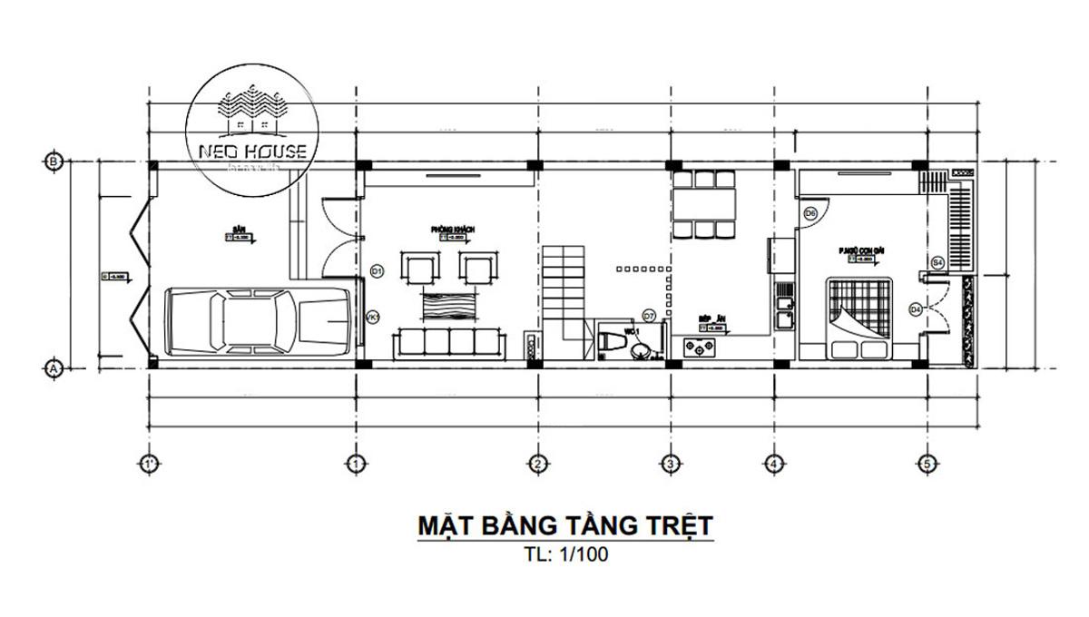 Mặt bằng tầng trệt thiết kế nhà ống 3 tầng 5x20 tại Đà Lạt
