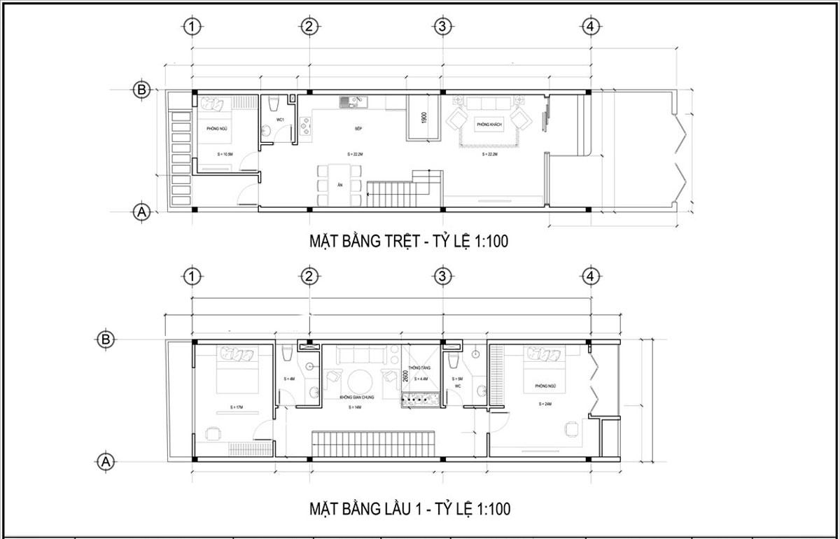 Mặt bằng tầng trệt và lầu 1 mẫu thiết kế nhà ống 3 tầng 5x20 tại Đà Nẵng