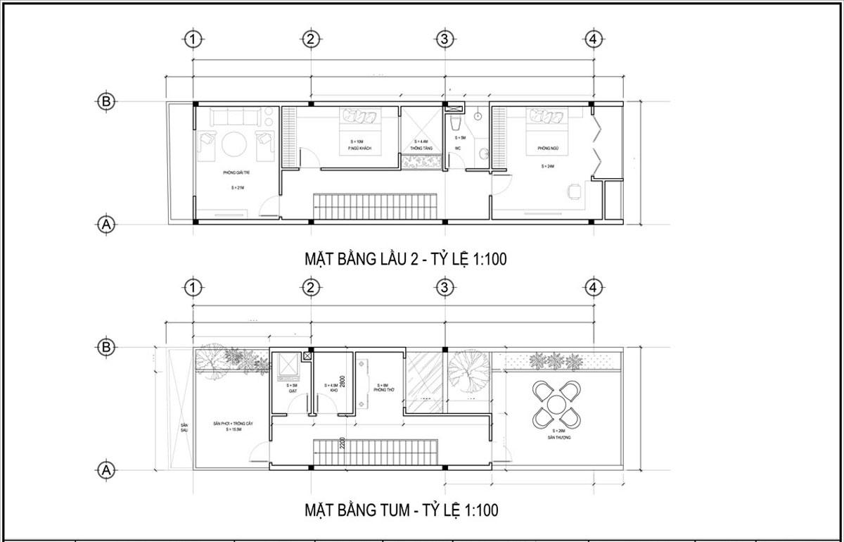 Mặt bằng lầu 2 và tầng tum mẫu thiết kế nhà ống 3 tầng 5x20 tại Đà Nẵng