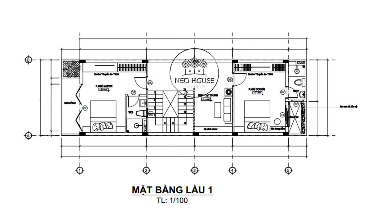 Mặt bằng lầu 1 thiết kế nhà ống 3 tầng 5x20 tại Đà Lạt