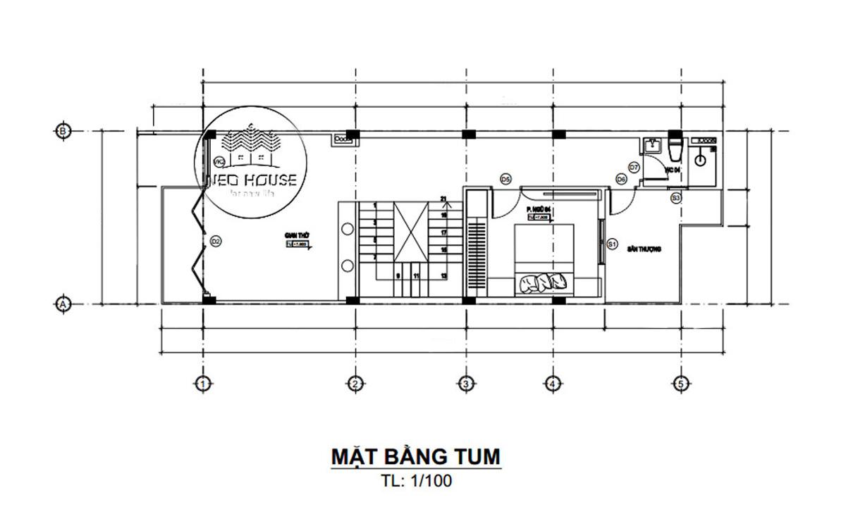 Mặt bằng tầng tum thiết kế nhà ống 3 tầng 5x20 tại Đà Lạt