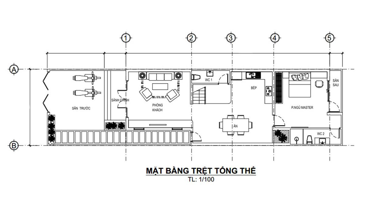 Mặt bằng tầng trệt bản vẽ thiết kế nhà ống 3 tầng 5x20 tại Đà Nẵng