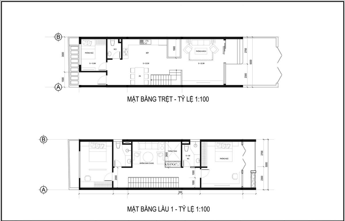 Mặt bằng tầng trệt và lầu 1 mẫu thiết kế nhà ống 3 tầng 5x20 tại HCM
