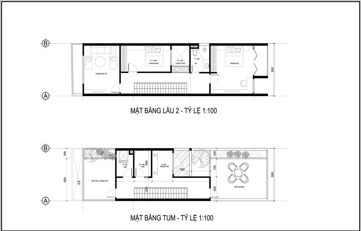 Mặt bằng lầu 2 và tầng tum mẫu thiết kế nhà ống 3 tầng 5x20 tại HCM