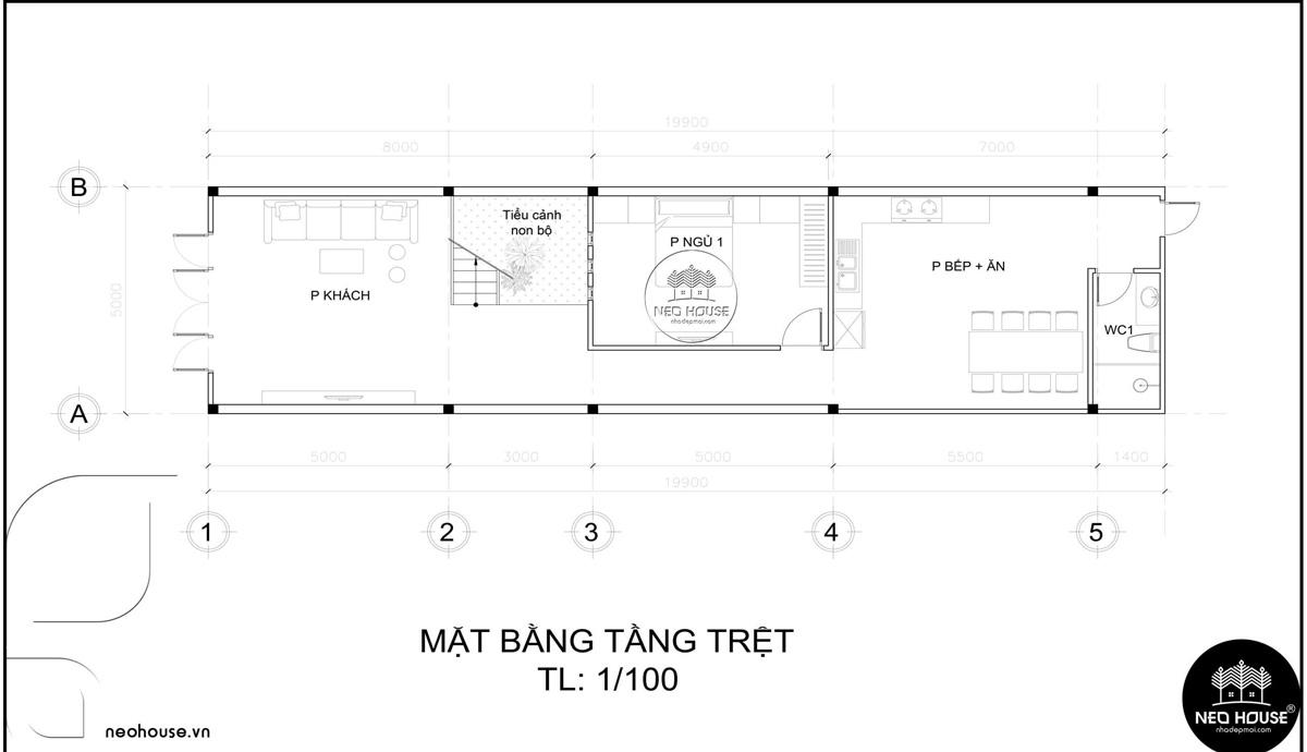 Mặt bằng tầng trệt thiết kế nhà ống 3 tầng 5x20 tân cổ điển tại Cà Mau