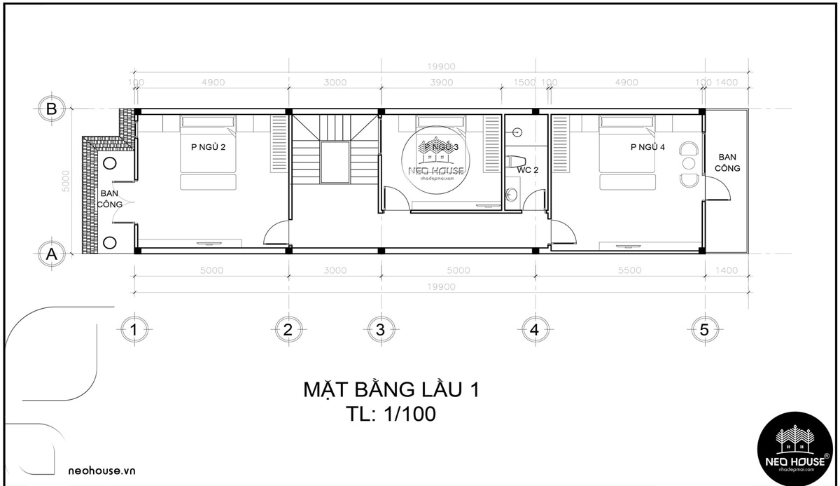 Mặt bằng lầu 1 thiết kế nhà ống 3 tầng 5x20 tân cổ điển tại Cà Mau
