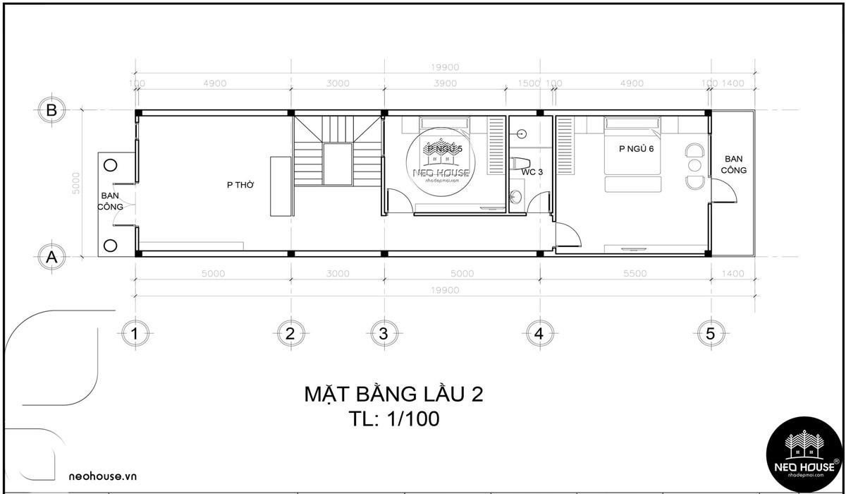 Mặt bằng lầu 2 thiết kế nhà ống 3 tầng 5x20 tân cổ điển tại Cà Mau