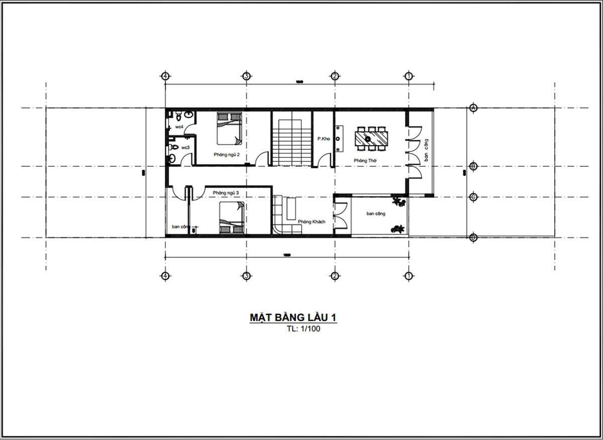 Mặt bằng lầu 1 thiết kế mẫu nhà ống 2 tầng đơn giản đẹp mặt tiền 8m