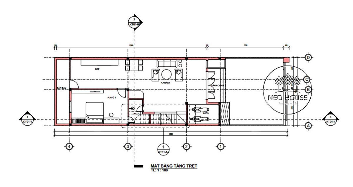 Mặt bằng tầng trệt mặt tiền nhà ống 2 tầng đơn giản đẹp 7x18m