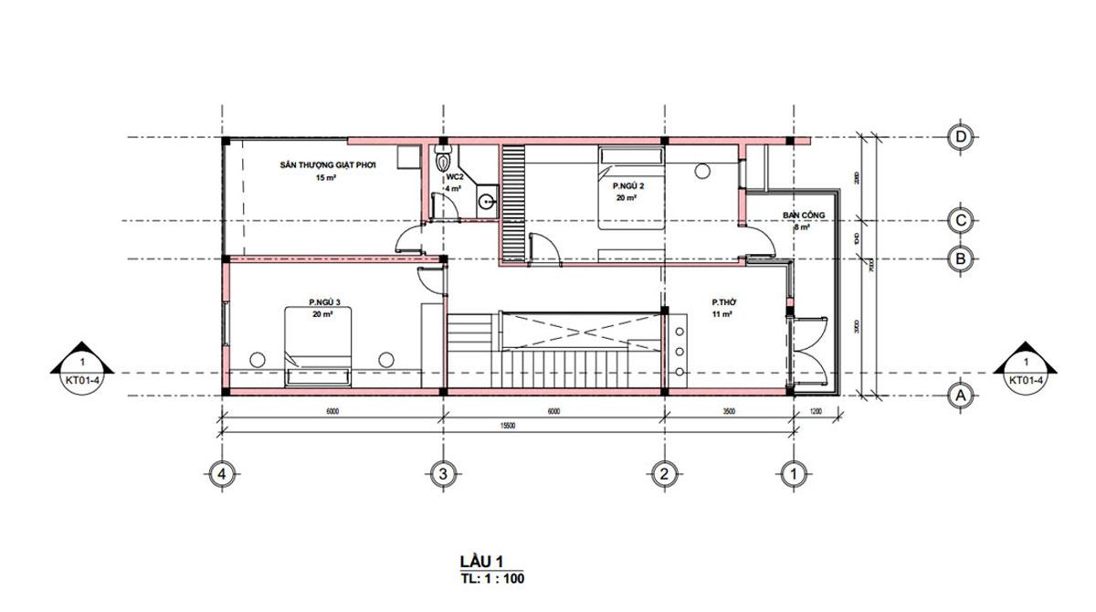 Mặt bằng lầu 1 mặt tiền nhà ống 2 tầng đơn giản đẹp 7x18m