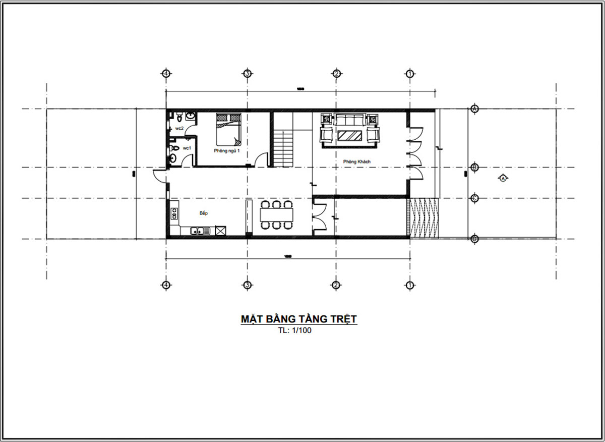 Mặt bằng tầng trệt thiết kế mẫu nhà ống 2 tầng đơn giản đẹp mặt tiền 8m