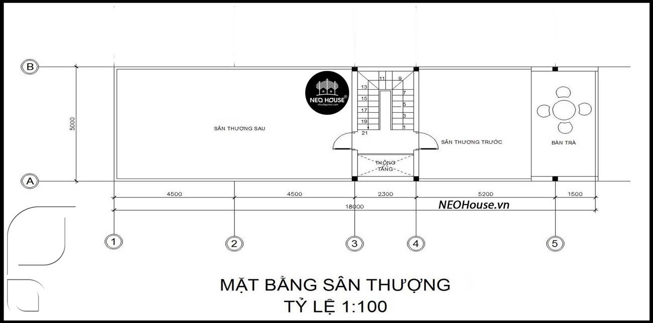 Mặt bằng công năng tầng tum thiết kế xây nhà ống 2 tầng 1 tum giá rẻ