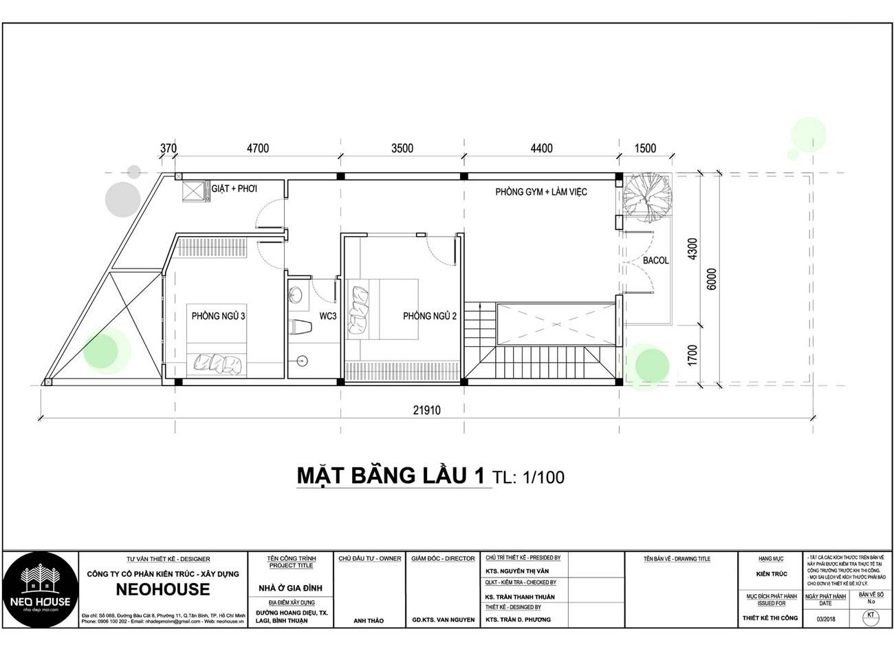 Mặt bằng lầu 1 xây nhà ống 2 tầng giá rẻ hiện đại tại Lagi, Bình Thuận