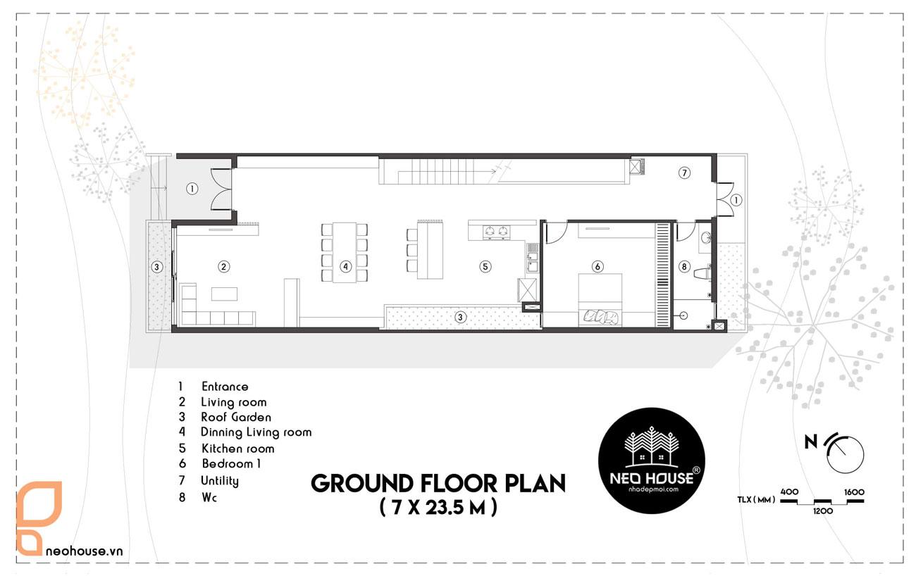 Mặt bằng tầng trệt mẫu nhà ống 2 tầng 4 phòng ngủ giá rẻ 7x21m