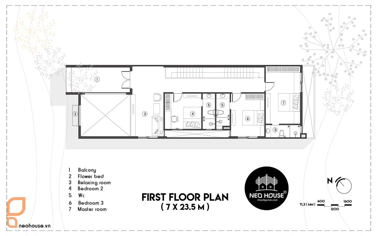 Mặt bằng lầu 1 mẫu nhà ống 2 tầng 4 phòng ngủ giá rẻ 7x21m