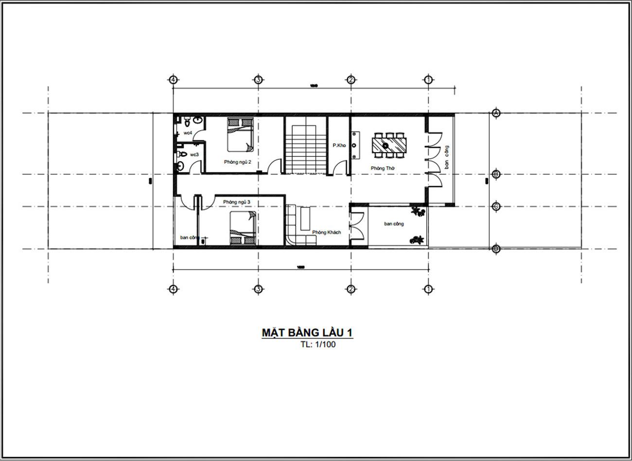 Mặt bằng lầu 1 mẫu nhà ống 2 tầng đẹp giá rẻ 8x16m tại Vũng Tàu