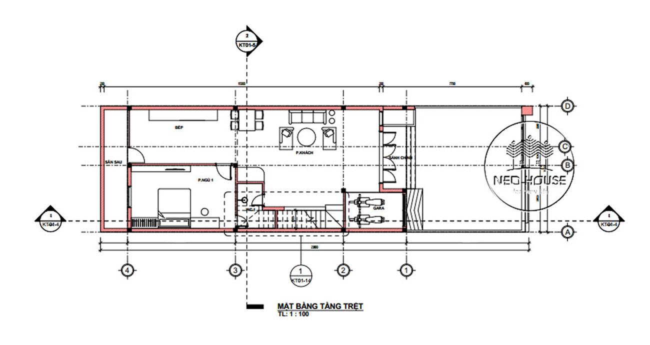 Mặt bằng tầng trệt mẫu nhà ống 2 tầng giá rẻ đẹp 7x18m tại Quảng Nam