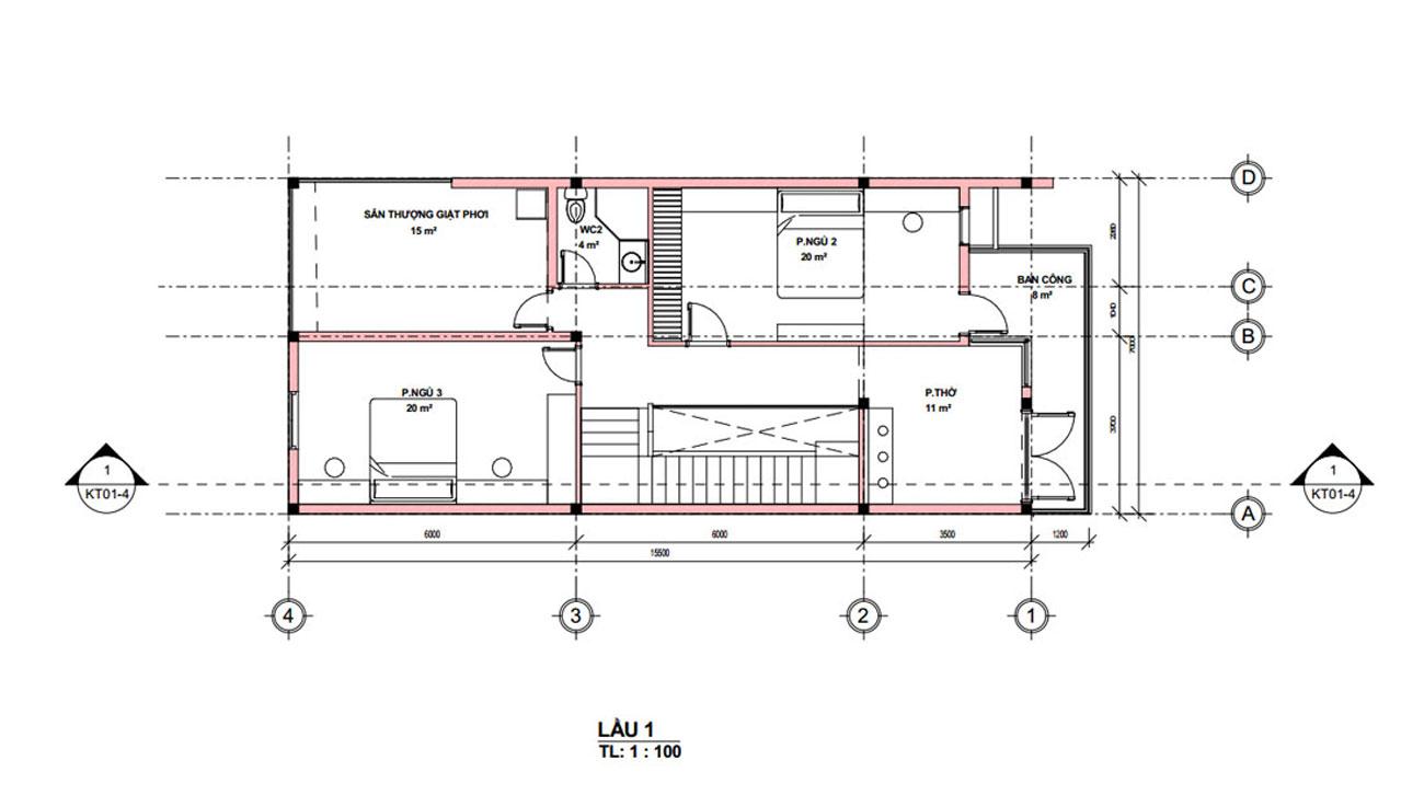 Mặt bằng lầu 1 mẫu nhà ống 2 tầng giá rẻ đẹp 7x18m tại Quảng Nam