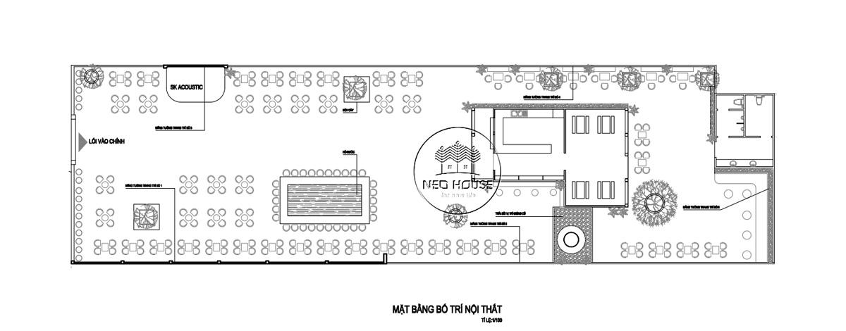 Mặt bằng thiết kế quán cà phê sân vườn 14x45m