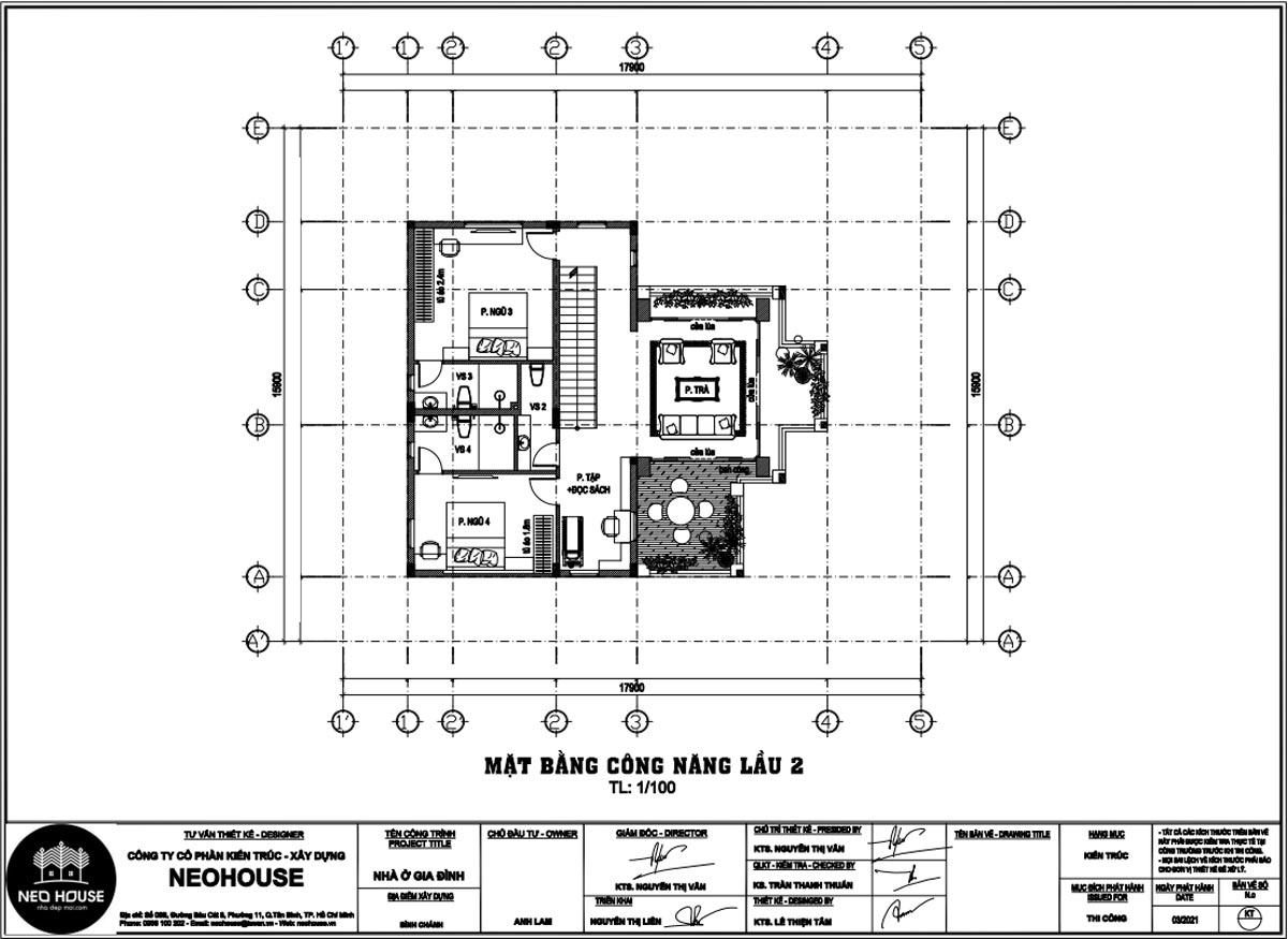 Mặt bằng lầu 2 biệt thự đẹp 3 tầng kiểu pháp
