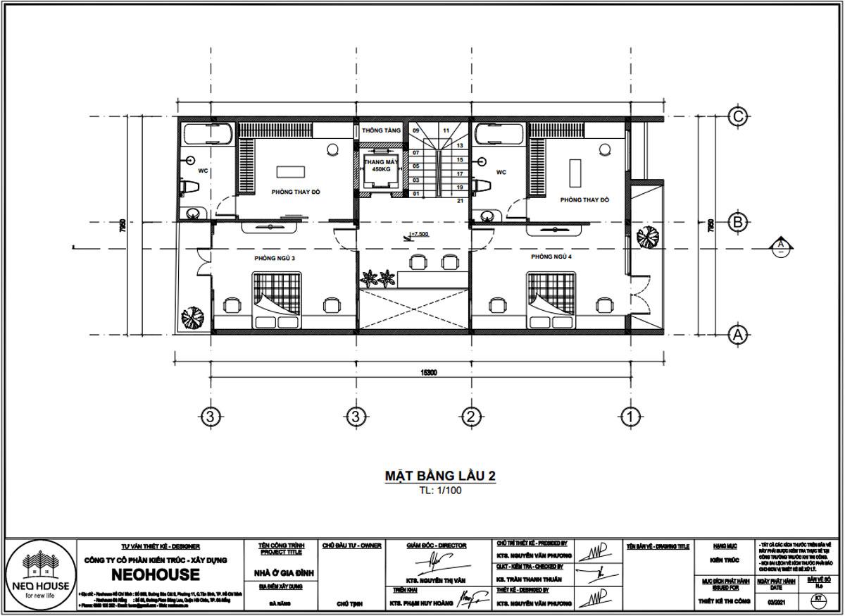 Mặt bằng lầu 2 mẫu nhà phố mặt tiền rộng 8m 3 tầng 1 tum