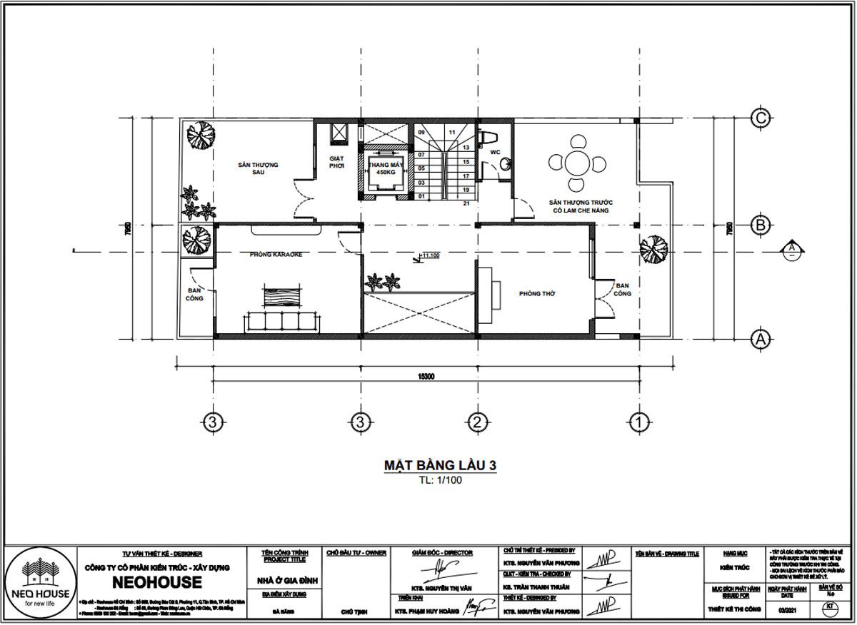Mặt bằng tầng tum mẫu nhà phố mặt tiền rộng 8m 3 tầng 1 tum