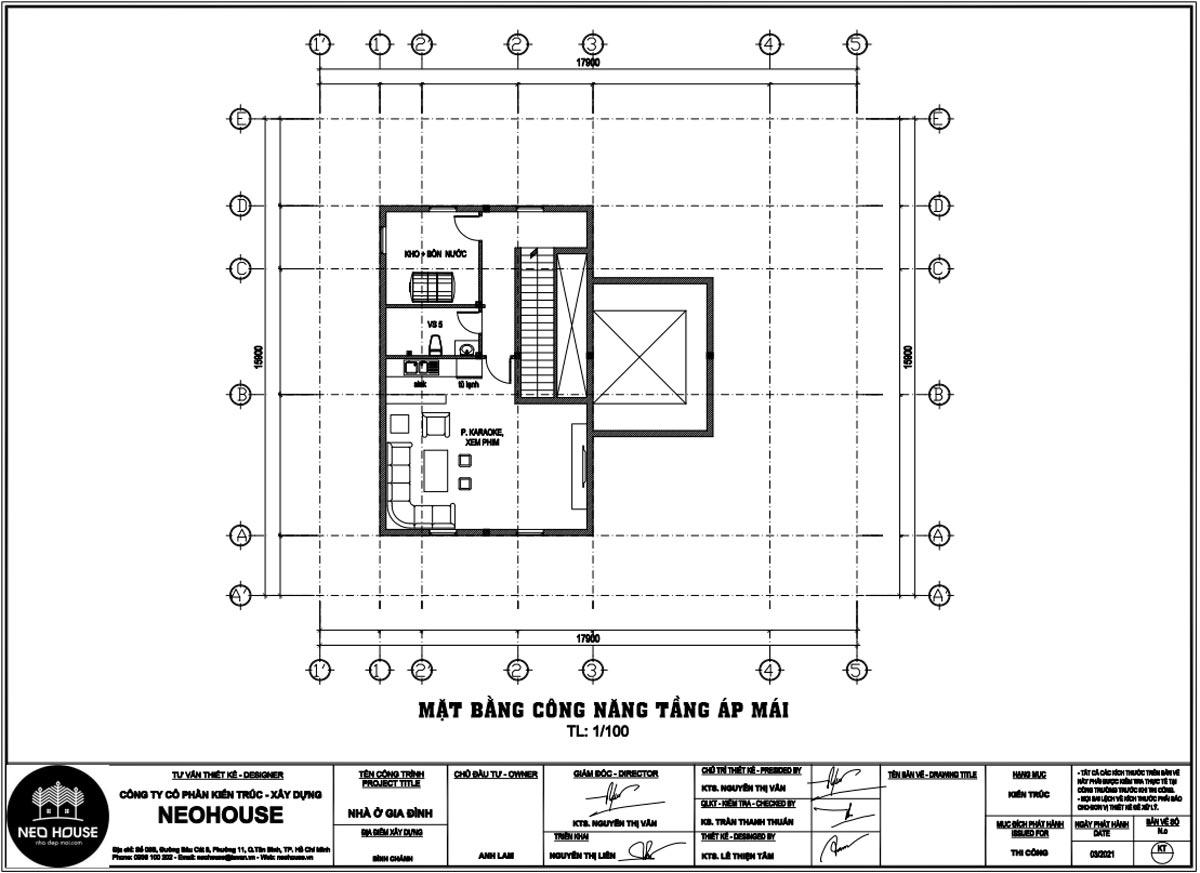 Mặt bằng tầng áp mái biệt thự đẹp 3 tầng kiểu pháp