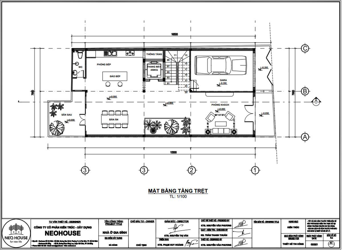 Mặt bằng tầng trệt mẫu nhà phố mặt tiền rộng 8m 3 tầng 1 tum