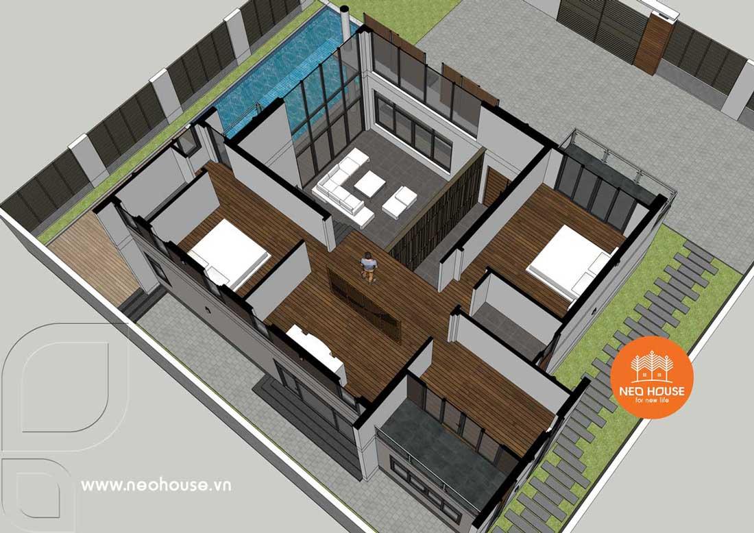 Phối cảnh mặt bằng tầng trệt mẫu biệt thự đẹp 2 tầng 2 mặt tiền hiện đại