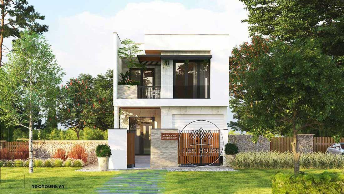 Thiết kế mẫu nhà ống 2 tầng đơn giản đẹp tại Vĩnh Long