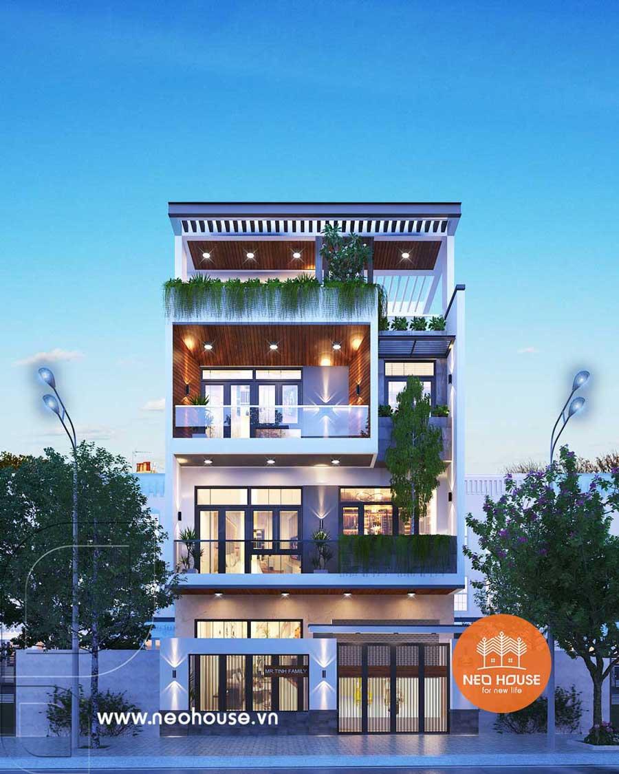 Mẫu nhà phố mặt tiền rộng 8m 3 tầng 1 tum. Ảnh 1