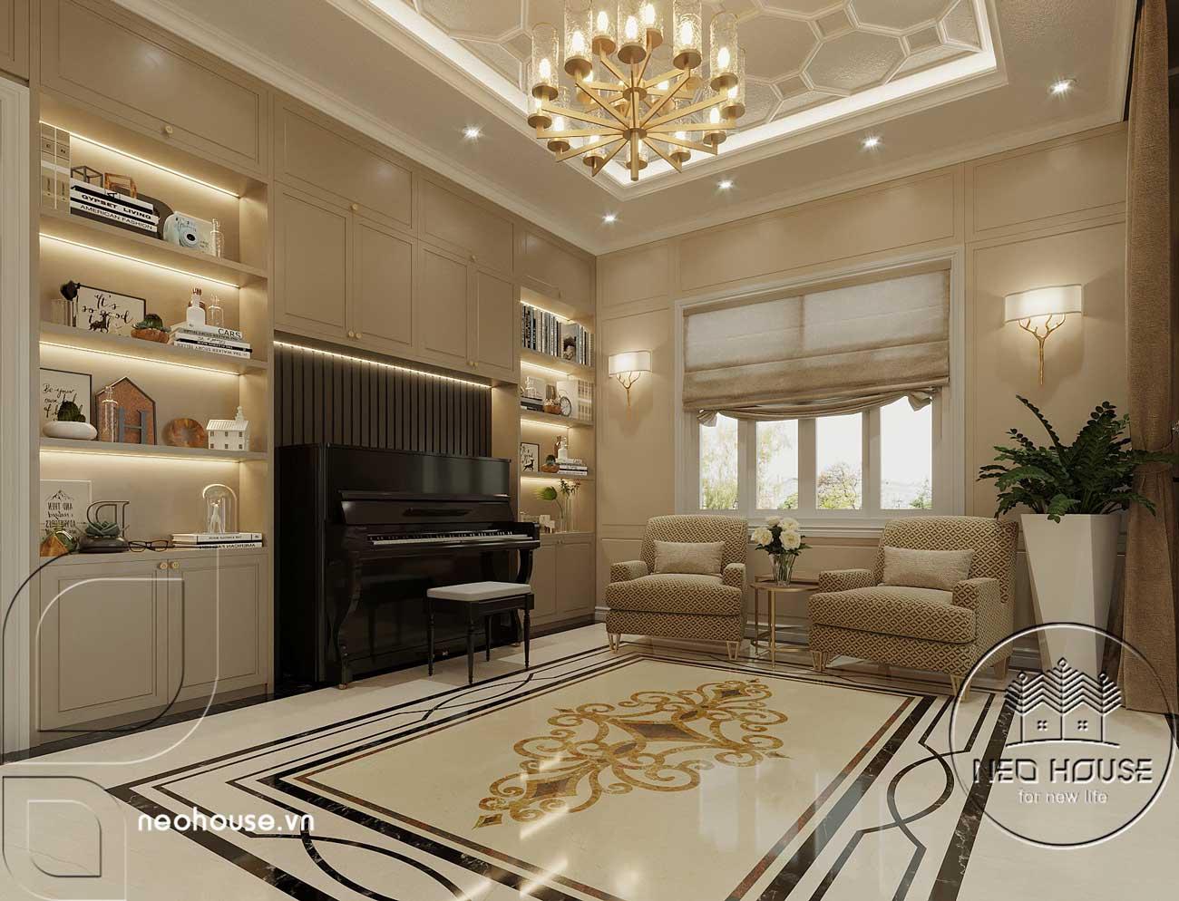 Nội thất sảnh chính biệt thự tân cổ điển 3 tầng kiểu pháp