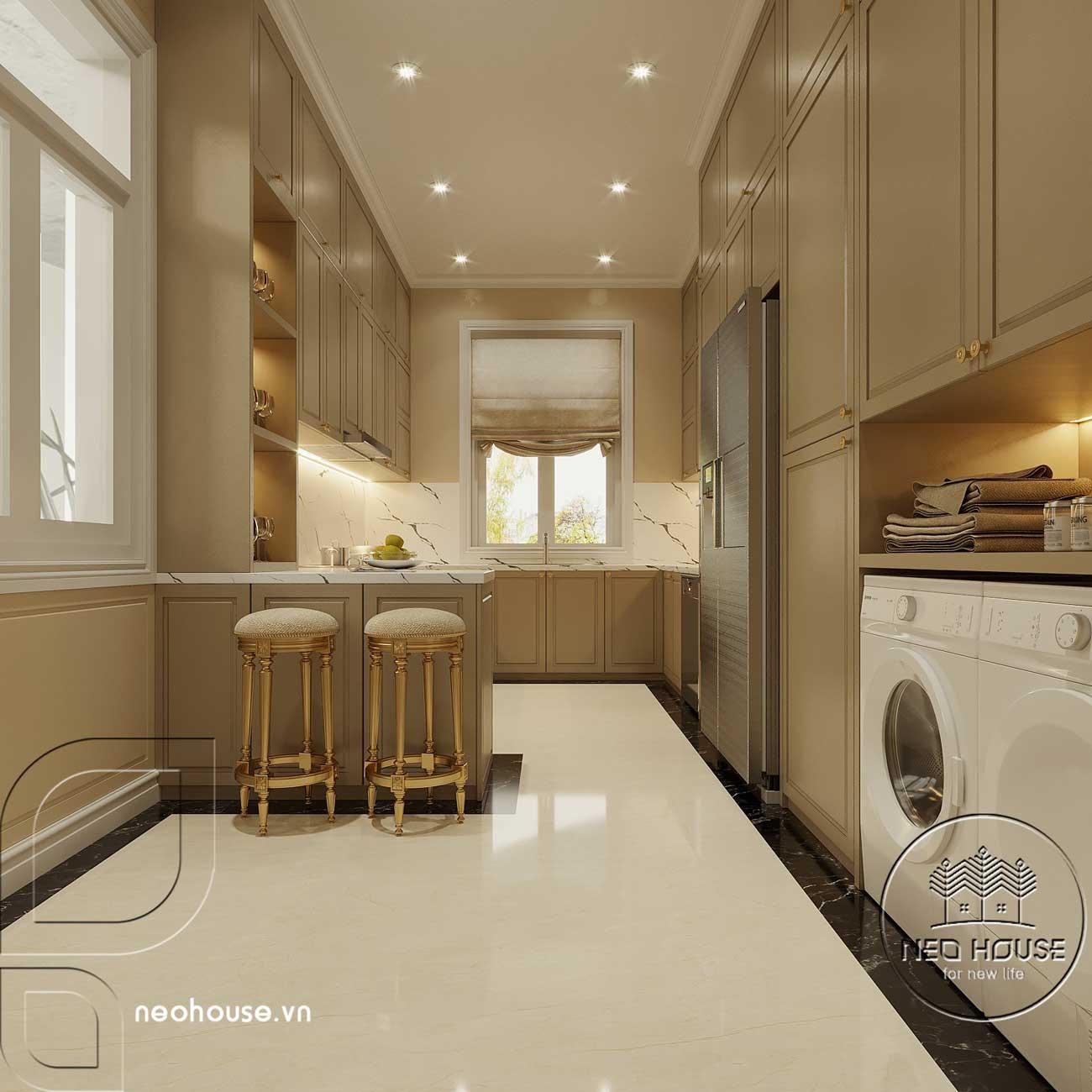 Nội thất phòng bếp biệt thự tân cổ điển 3 tầng kiểu pháp. Ảnh 2