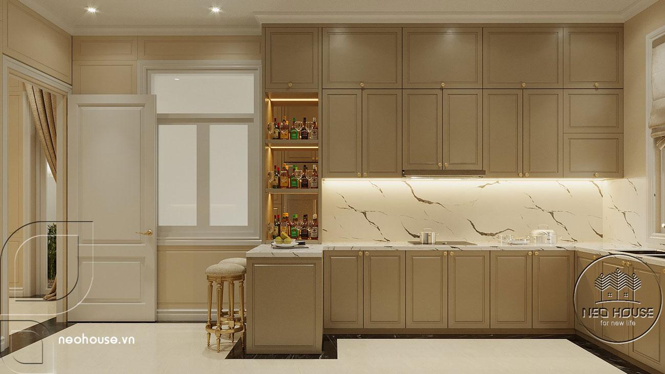 Nội thất phòng bếp biệt thự tân cổ điển 3 tầng kiểu pháp. Ảnh 1
